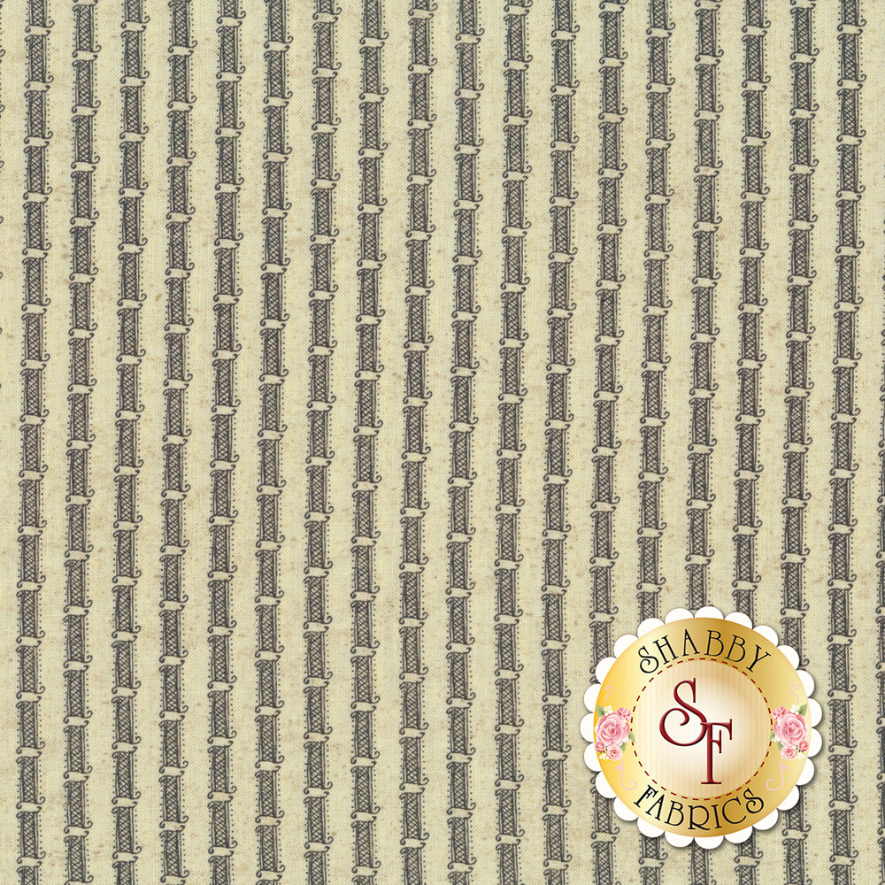 Gray stripe on cream | Shabby Fabrics