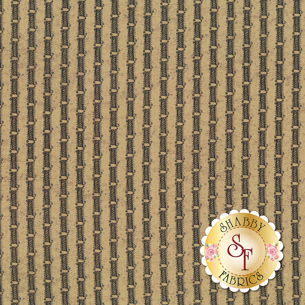 Gray stripe on tan | Shabby Fabrics