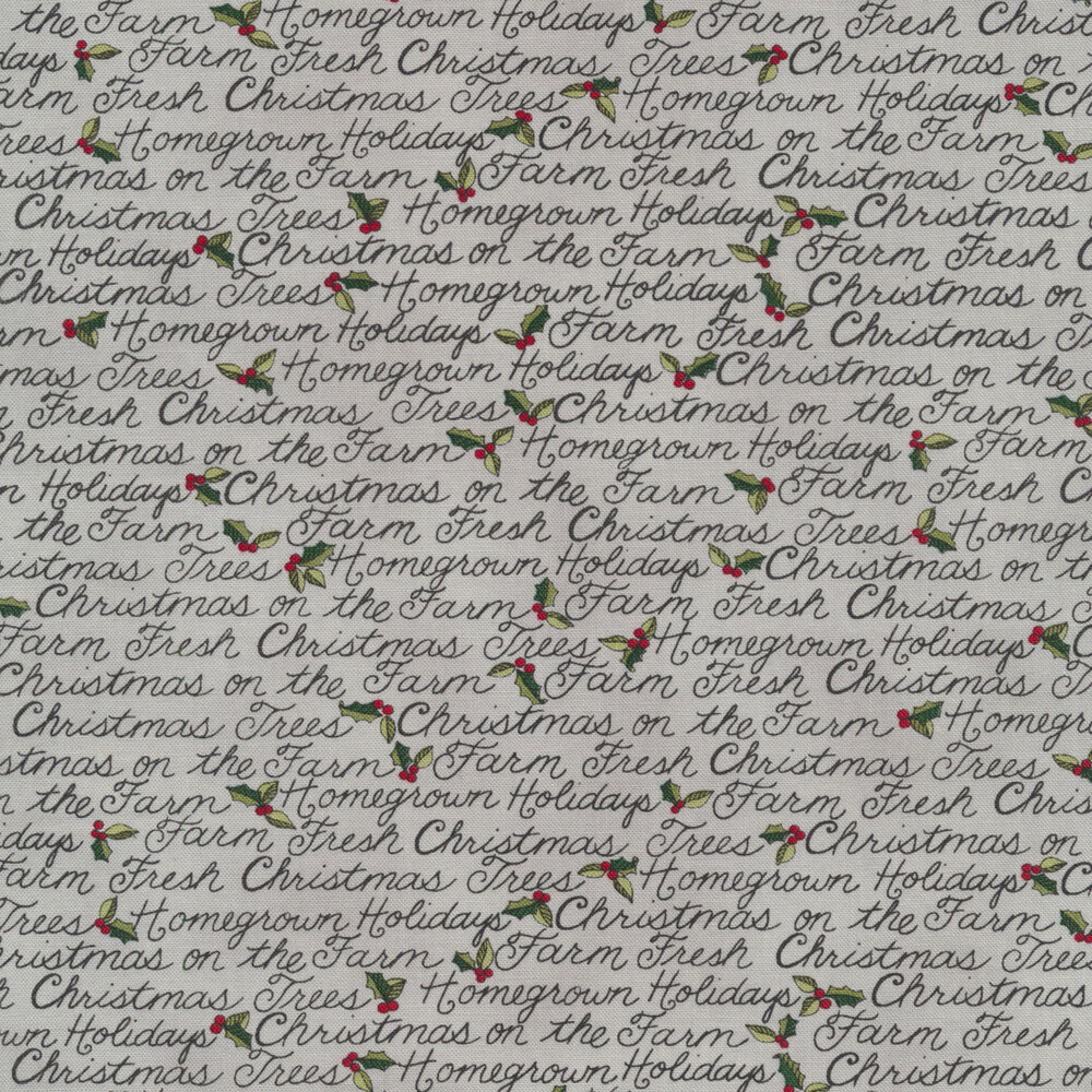 Christmas sayings on a grey background with small holly and berries | Shabby Fabrics