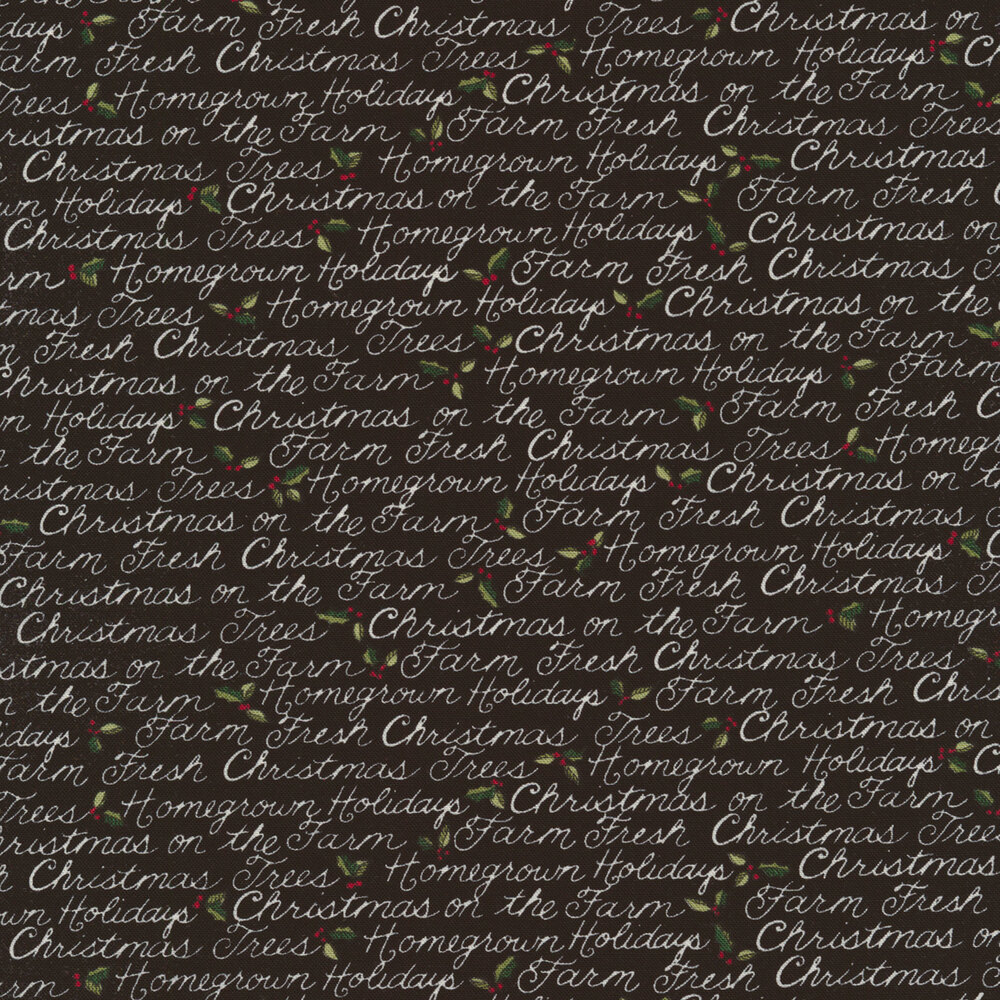 Christmas sayings on a black background with small holly and berries   Shabby Fabrics