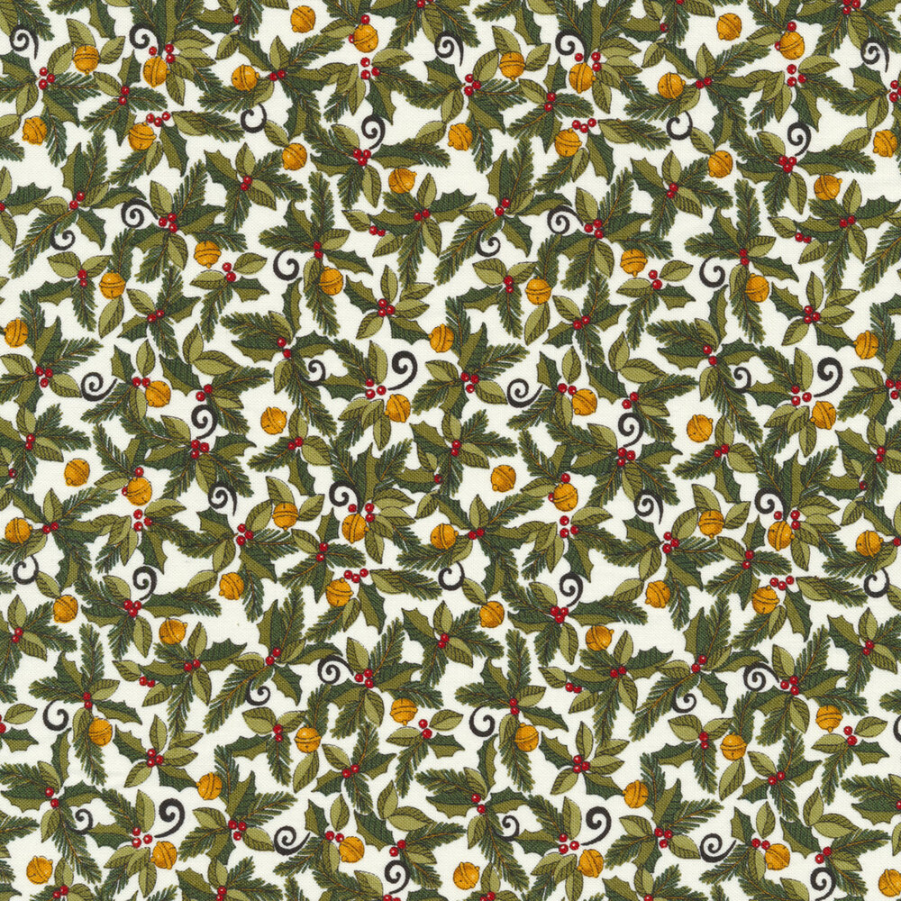 Holly berries and ornaments on a white background   Shabby Fabrics