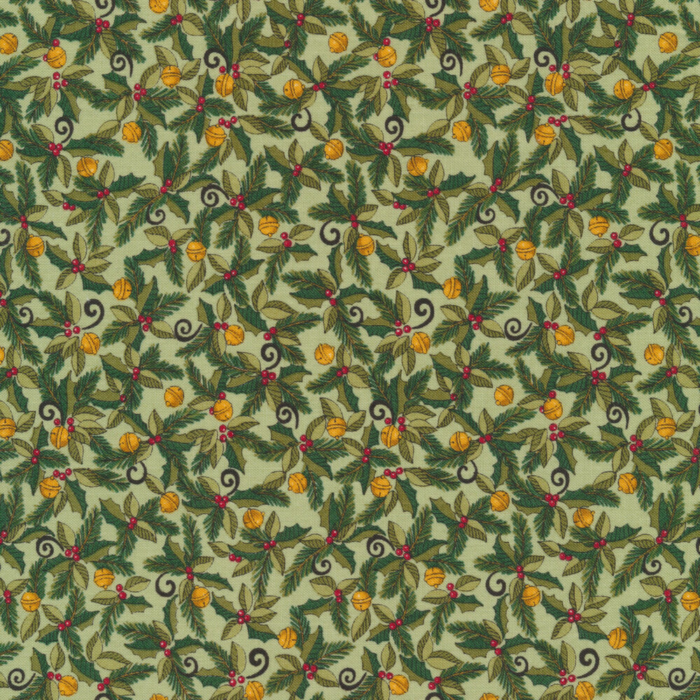 Holly berries and ornaments on a light green background | Shabby Fabrics