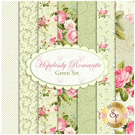 Hopelessly Romantic  7 FQ Set - Green Set by Deborah Edwards for Northcott Fabrics