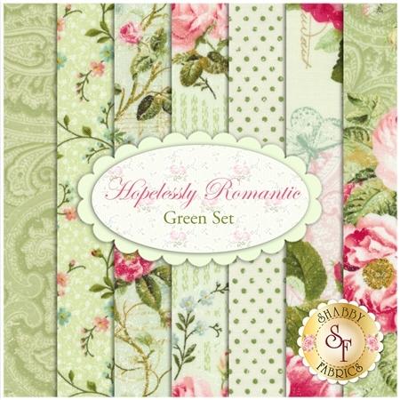 Hopelessly Romantic  7 FQ Set - Green Set by Northcott Fabrics