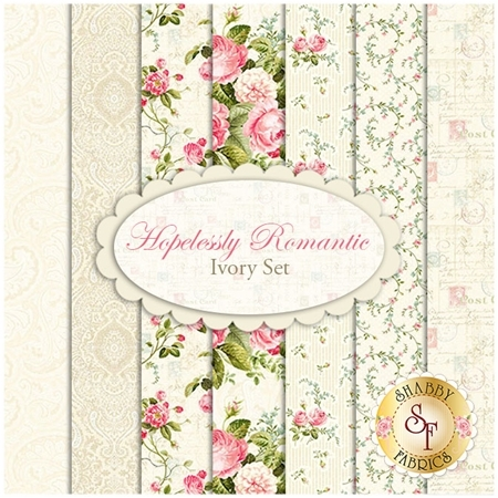 Hopelessly Romantic  7 FQ Set - Ivory Set by Deborah Edwards for Northcott Fabrics
