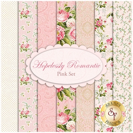 Hopelessly Romantic  7 FQ Set - Pink Set by Deborah Edwards for Northcott Fabrics