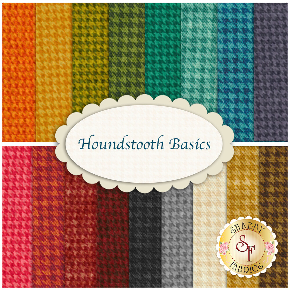 A collage of the fabrics included in the Houndstooth Basics Fat Eighth Set | Shabby Fabrics