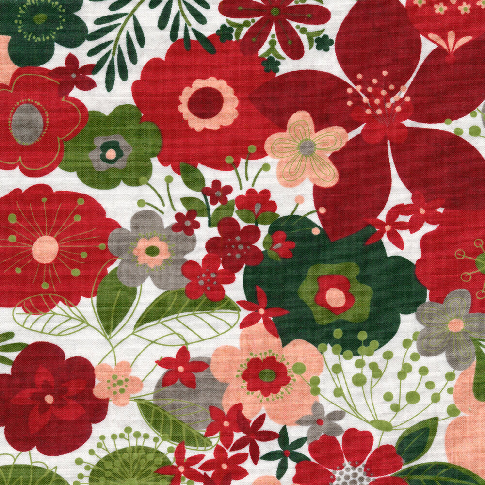 Red and green illustrated flowers on a white background