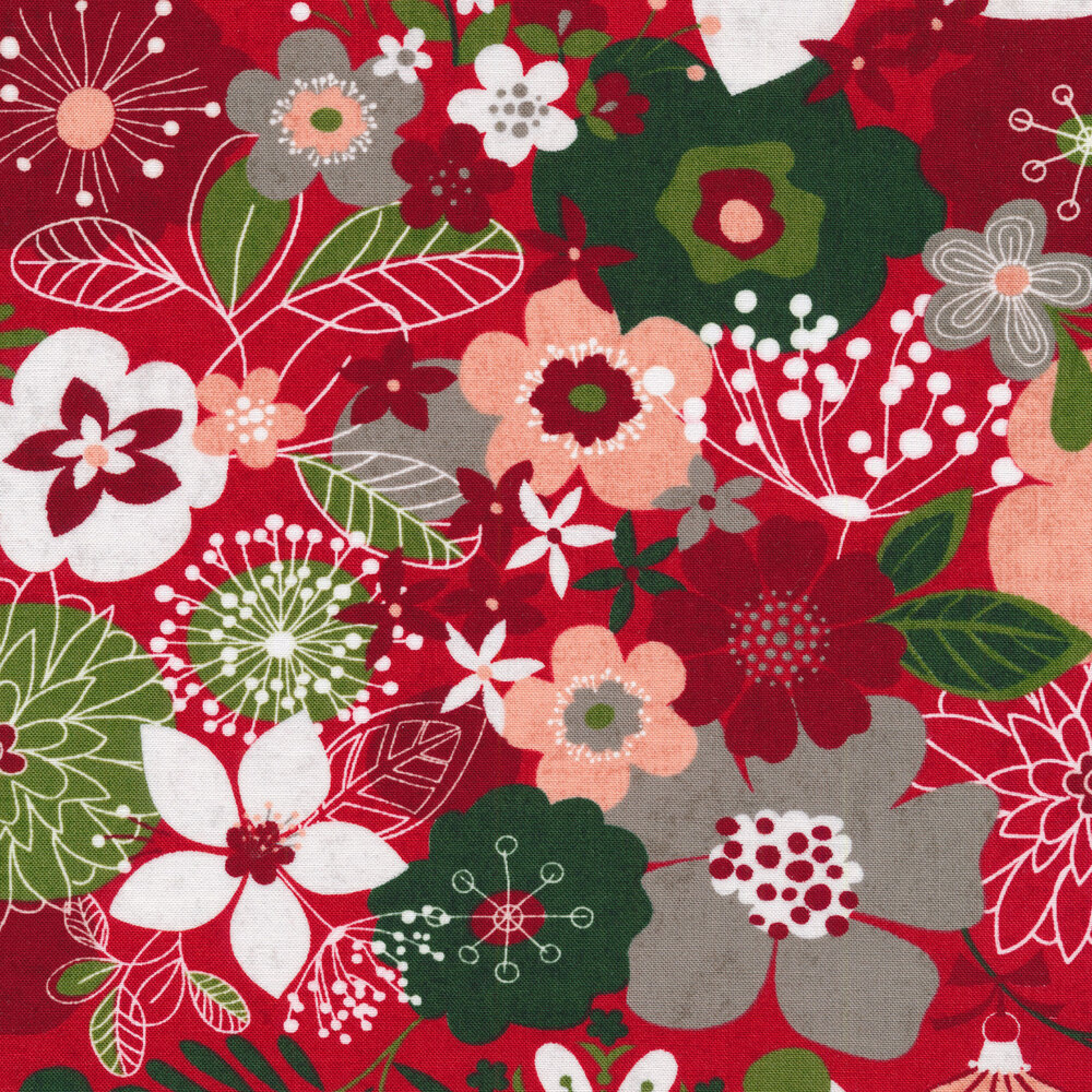 Red and green illustrated flowers on a red background