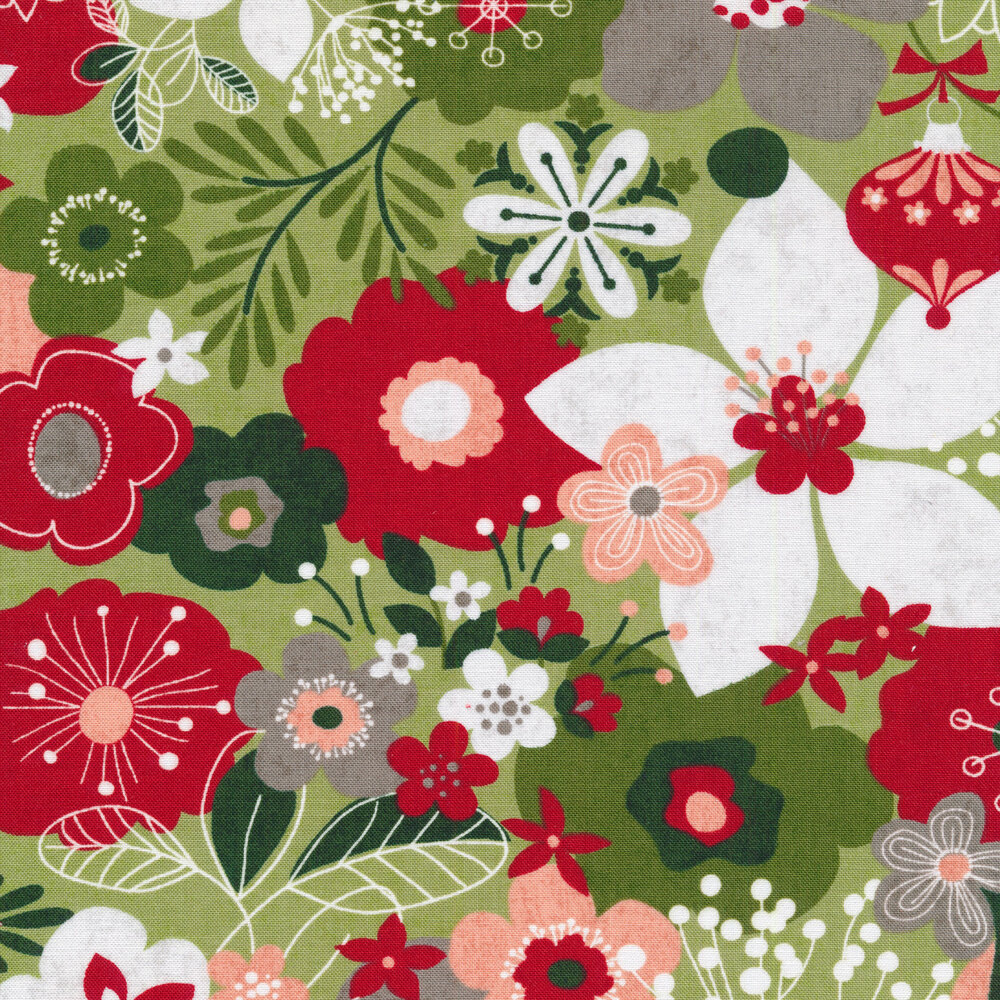 Red and green illustrated flowers on a light green background