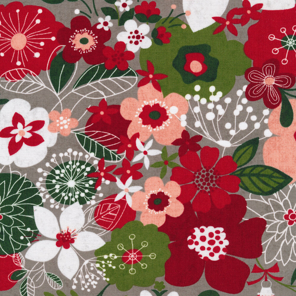 Red and green illustrated flowers on a gray background