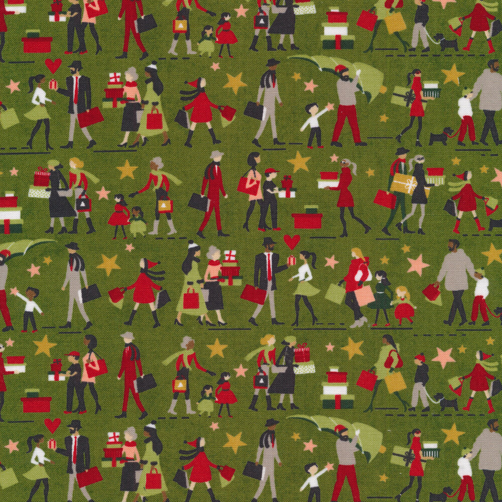 Illustrated people on a light green background