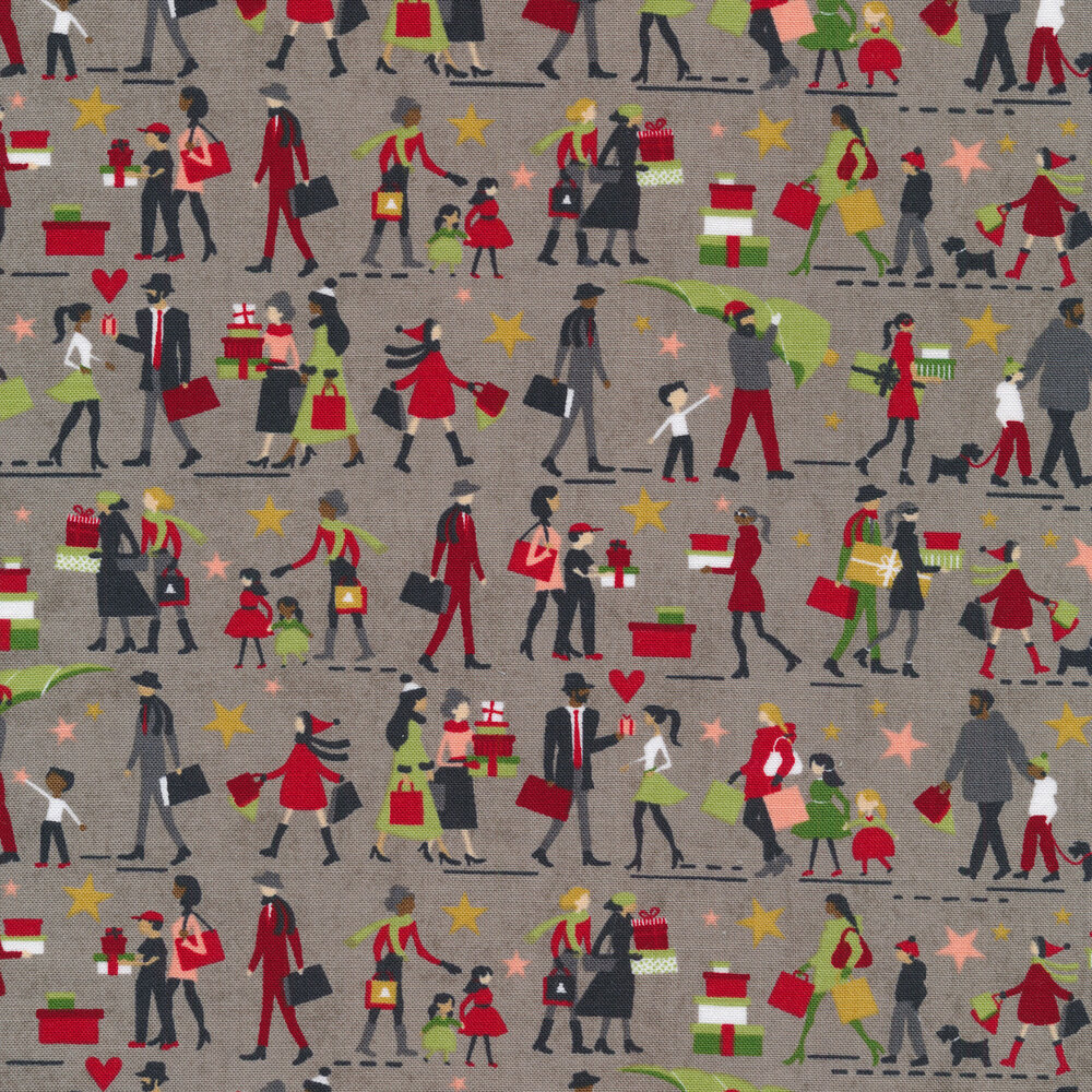 Illustrated people on a gray background