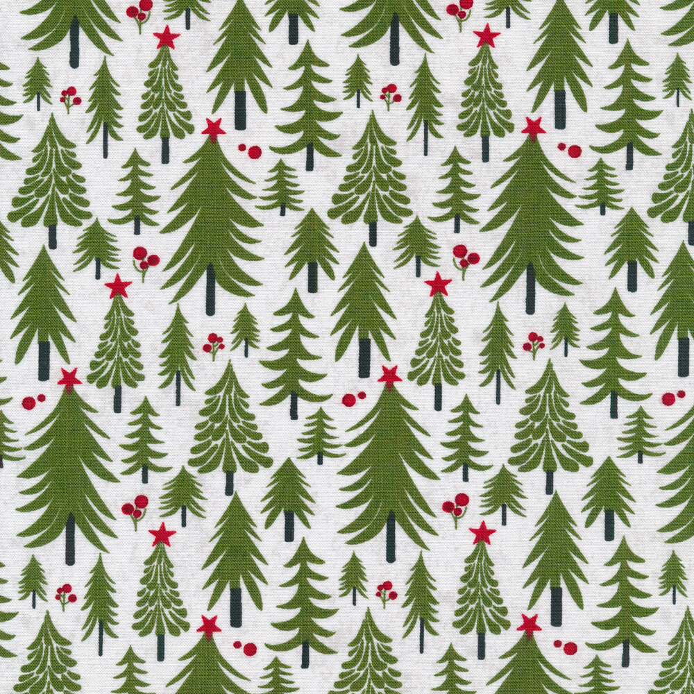 Illustrated Christmas trees on a white background
