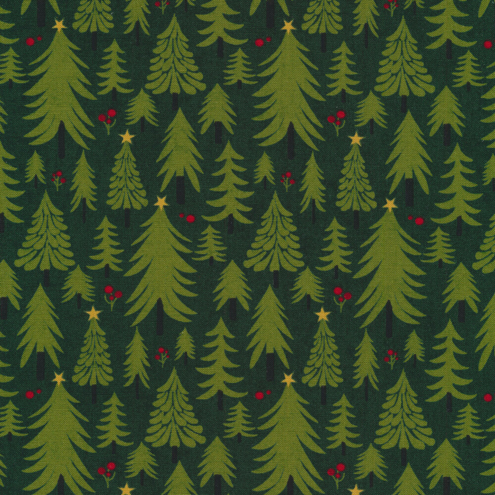 Illustrated Christmas trees on a green background