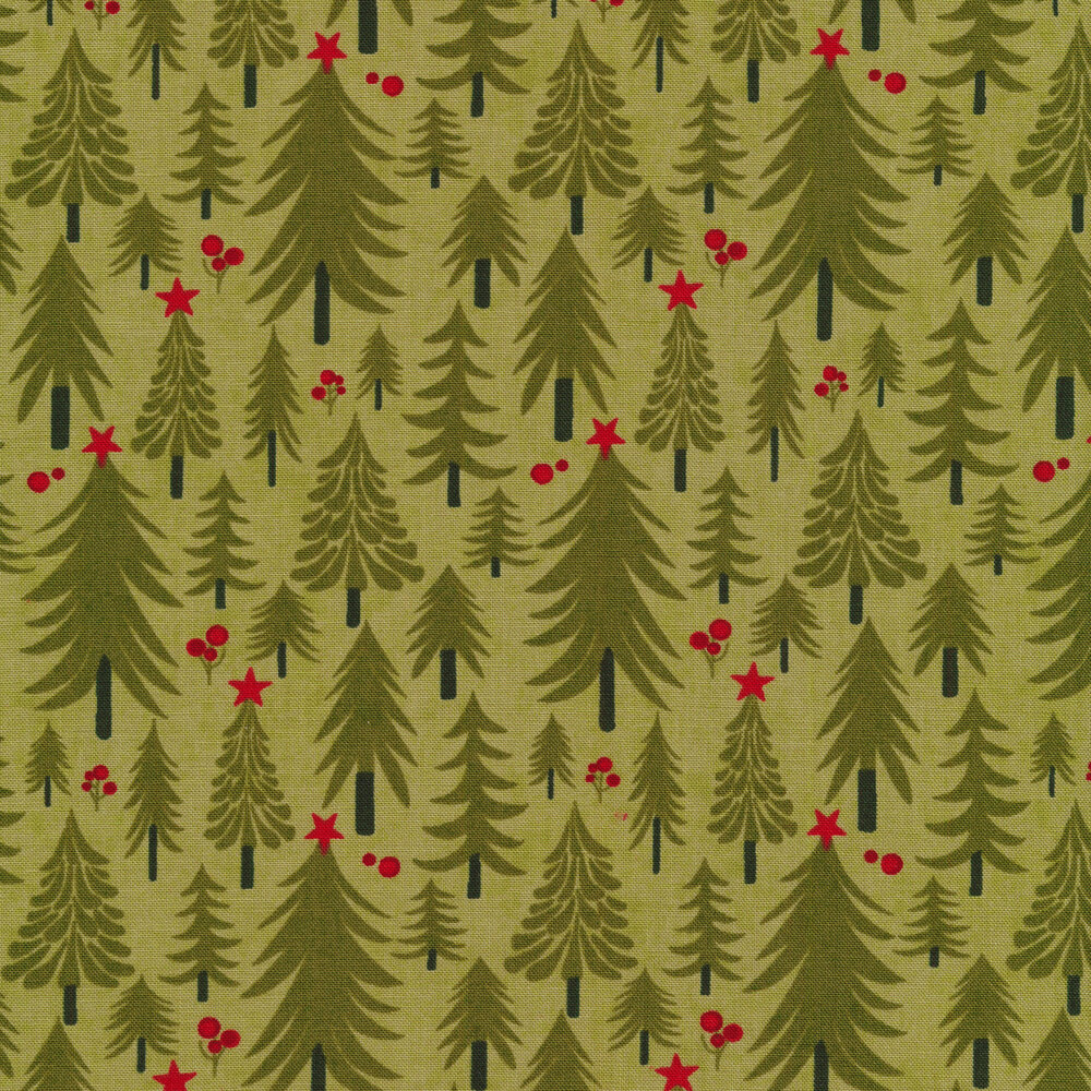 Illustrated Christmas trees on a light green background