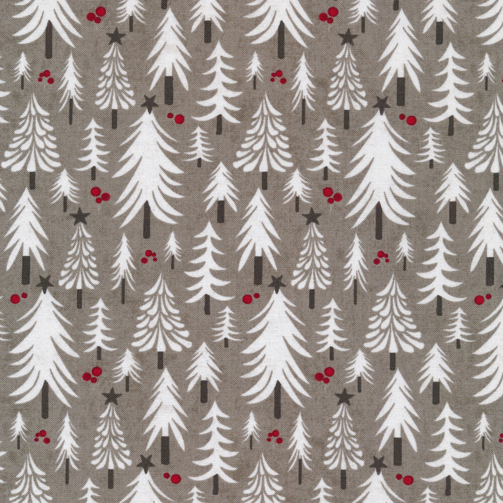 Illustrated Christmas trees on a gray background