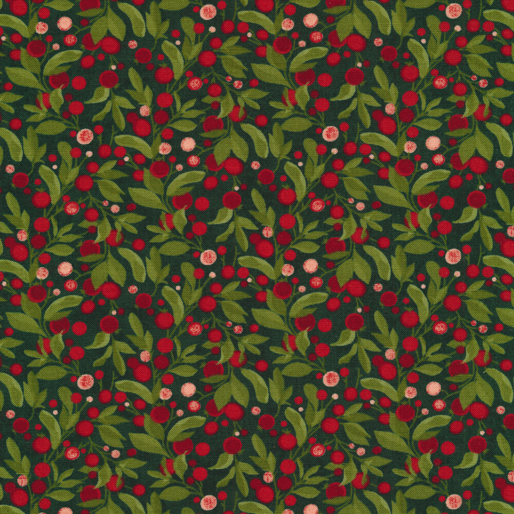 Leafy branches with red berries on a green background