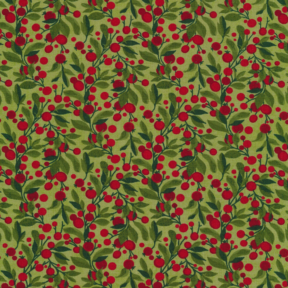 Leafy branches with red berries on a light green background