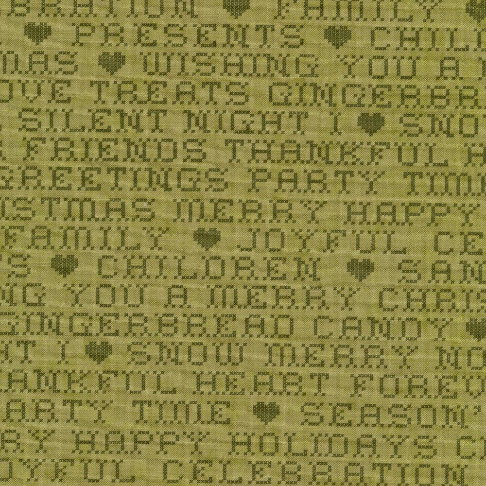 Green tonal Christmas words