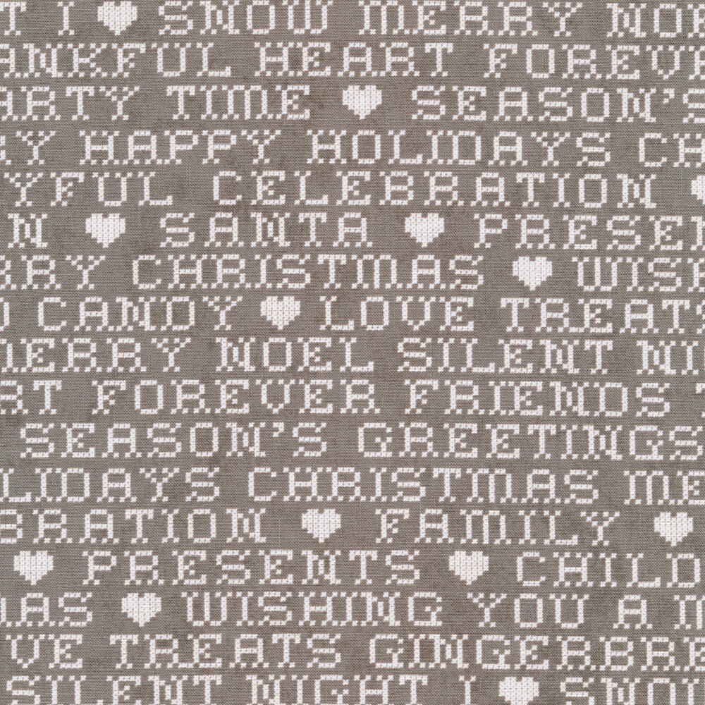 Christmas words on a gray background