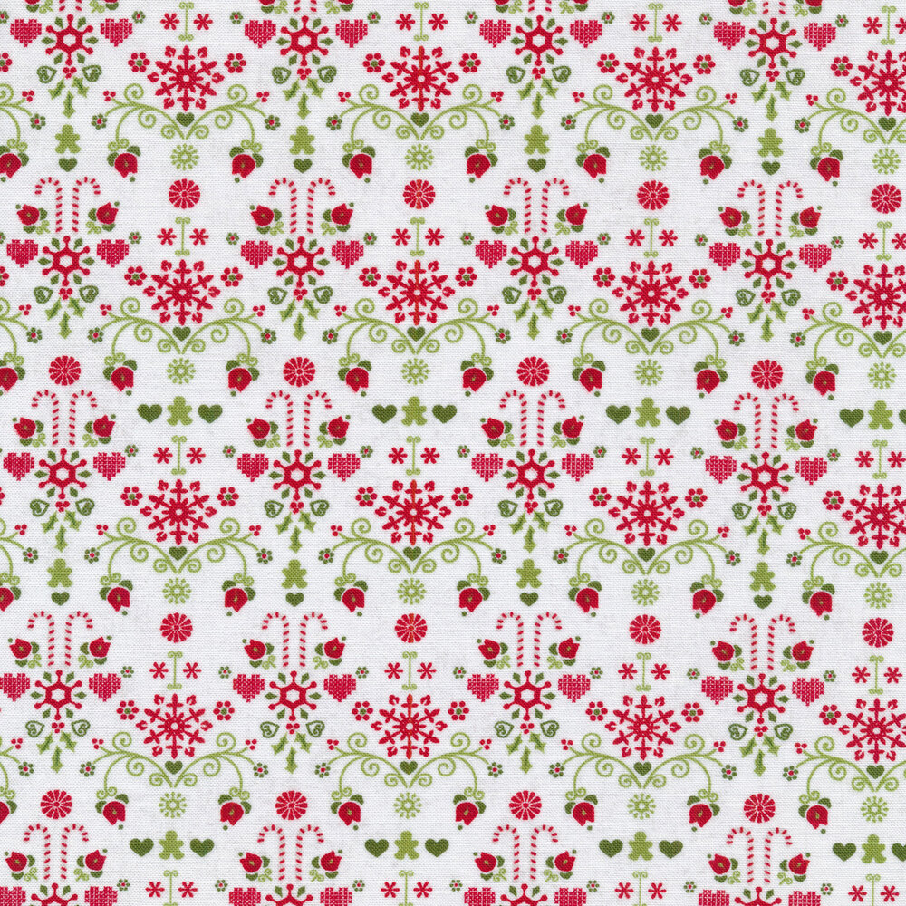 Candy cane and heart designs on a white background