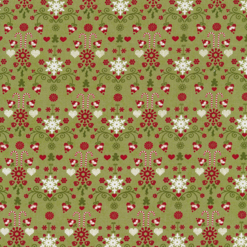 Candy cane and heart designs on a green background