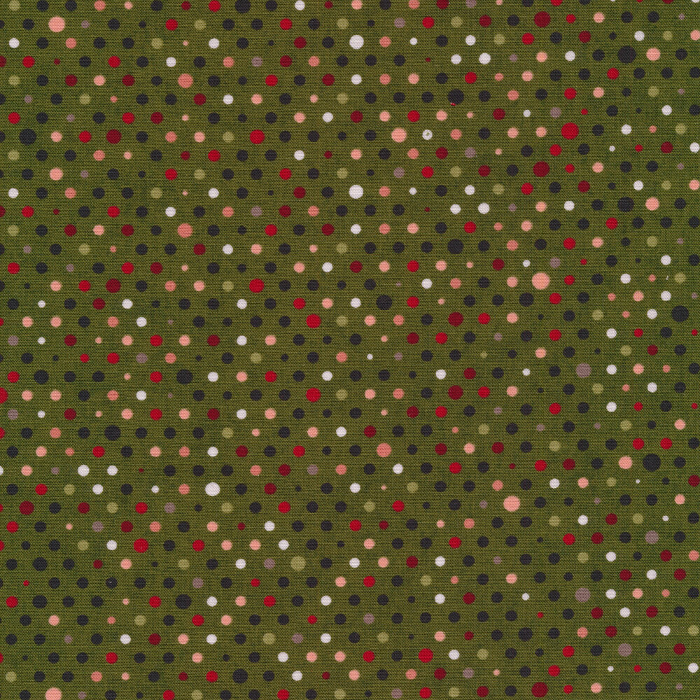 White, green, red, and yellow polka dots on a red background