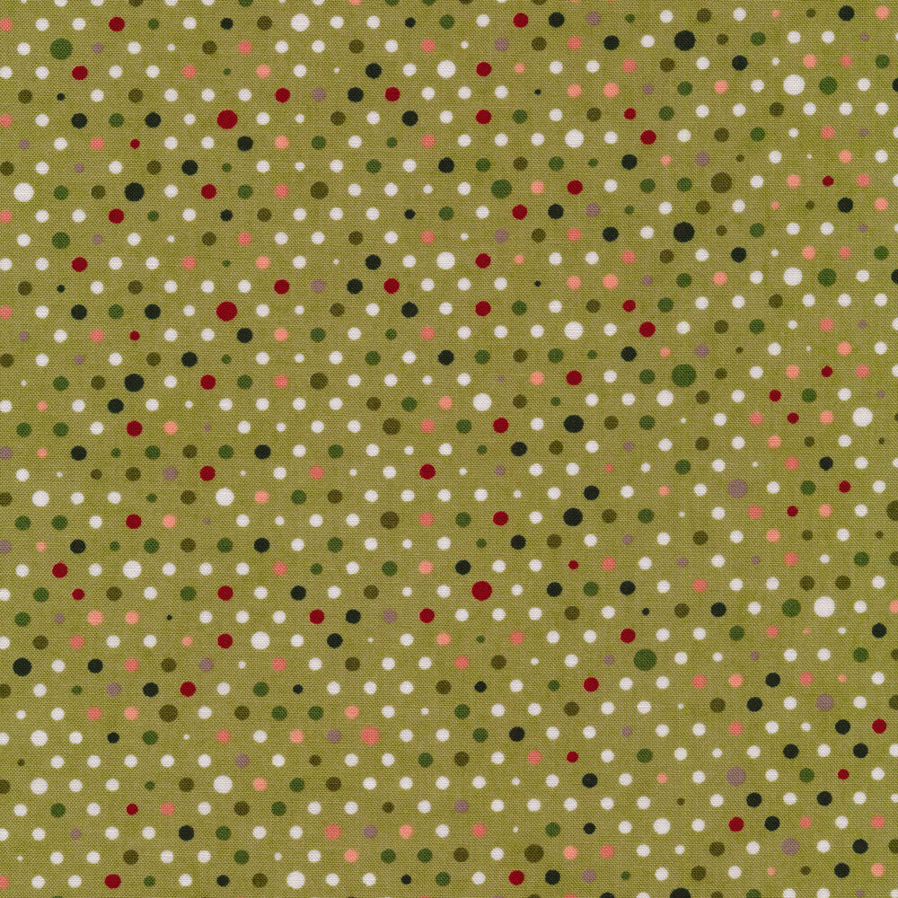 White, green, and red polka dots on a green background
