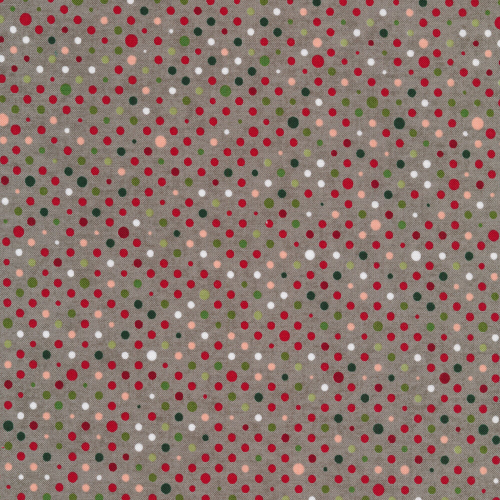 White, green, and red polka dots on a gray background