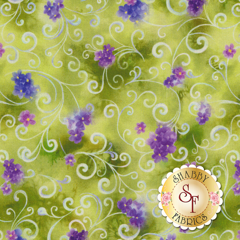 Purple flowers and light blue scrolls all over mottled green | Shabby Fabrics