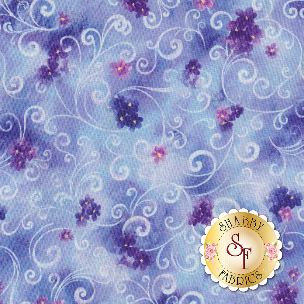 Tonal blue flowers and cream scrolls all over mottled blue | Shabby Fabrics