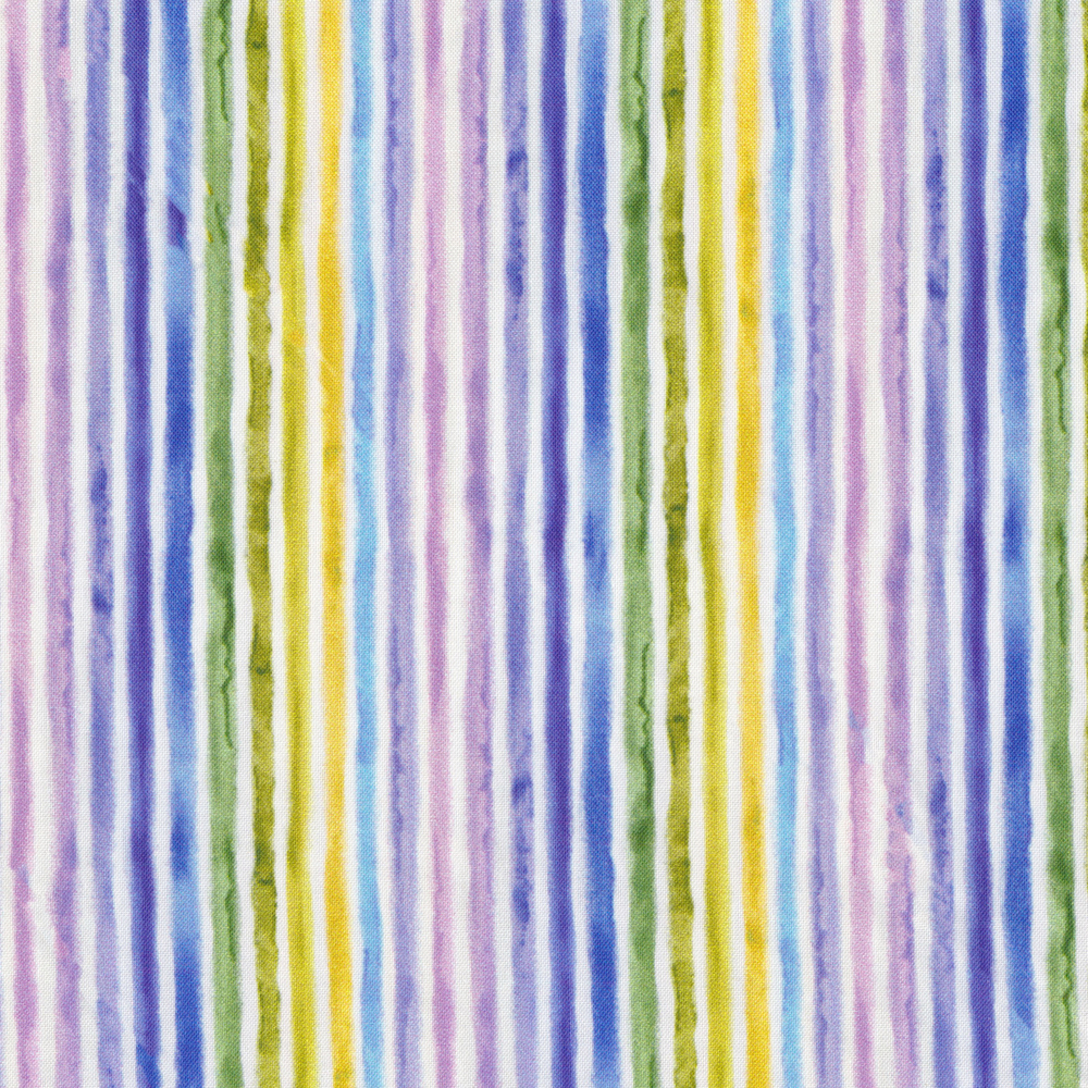 Purple, blue, green, and yellow stripes on white | Shabby Fabrics