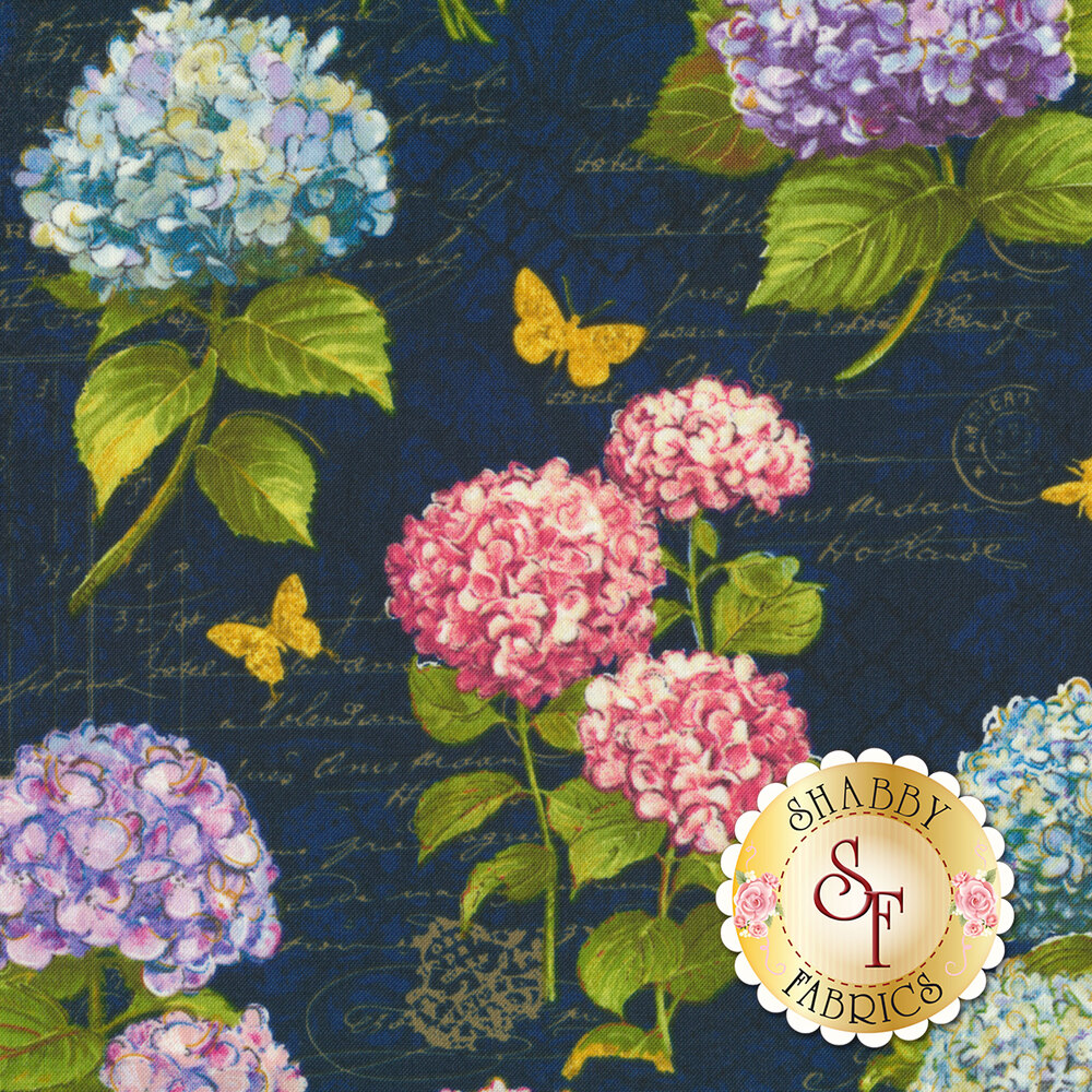 Hydrangea Dreams 96437-434 Large A/O Navy by Wilmington Prints