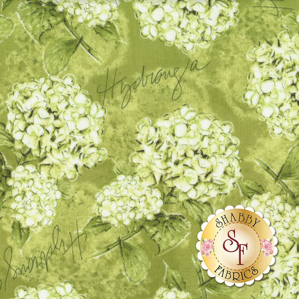 Hydrangea Dreams 96438-777 Tossed Hydrangeas Green by Wilmington Prints