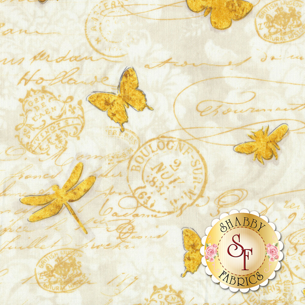 Hydrangea Dreams 96440-151 Gilded Butterflies Ivory by Wilmington Prints