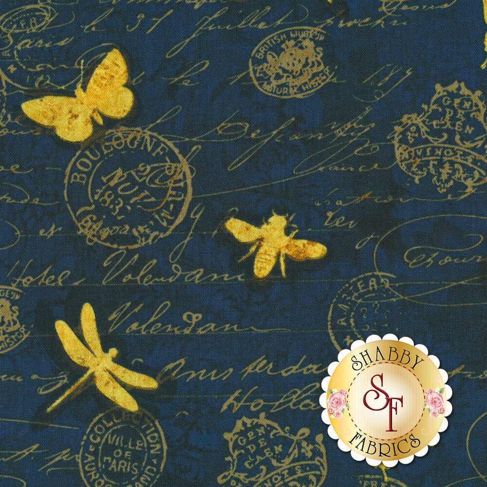Hydrangea Dreams 96440-454 Gilded Butterflies Navy by Wilmington Prints