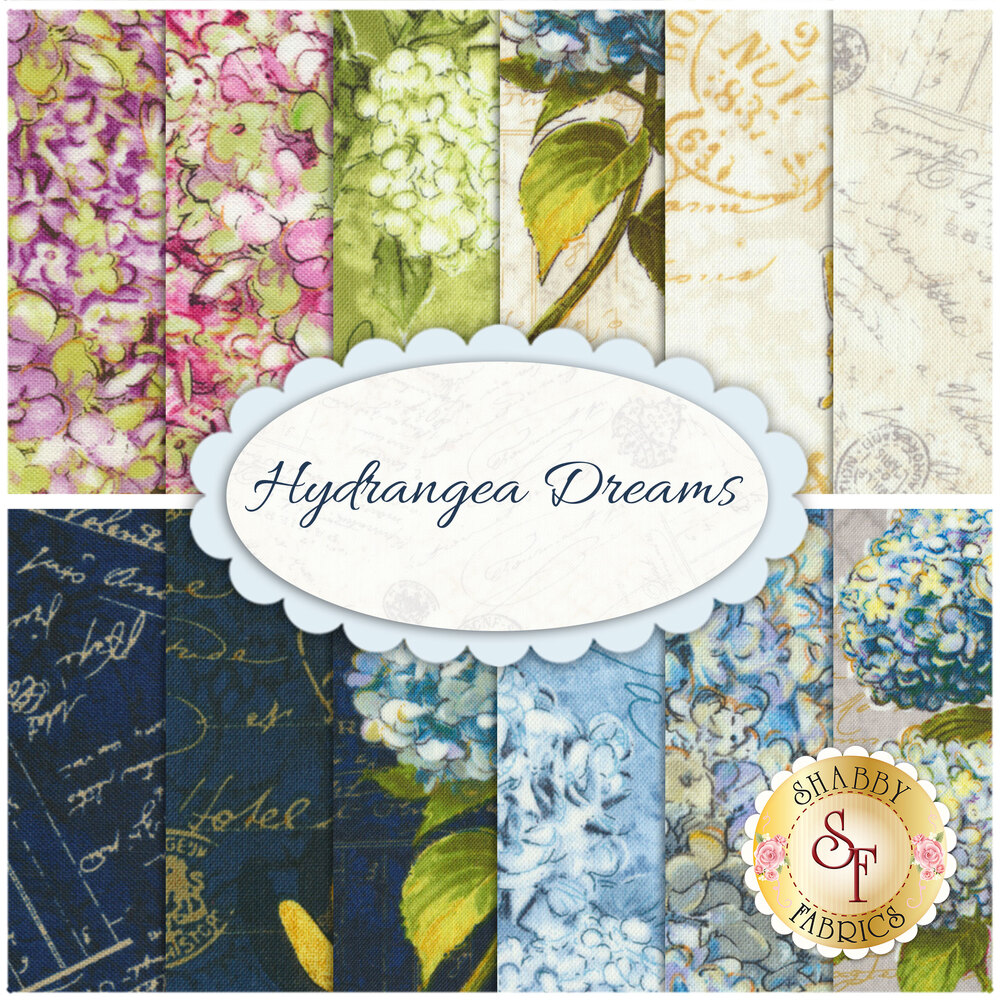 Hydrangea Dreams  12 FQ Set from Wilmington Prints by Michael Davis