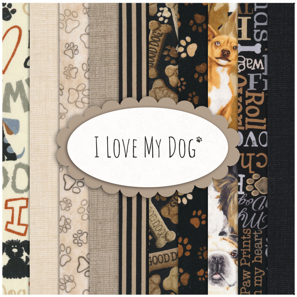 A collage of fabrics featured in the I Love My Dog FQ Set   Shabby Fabrics
