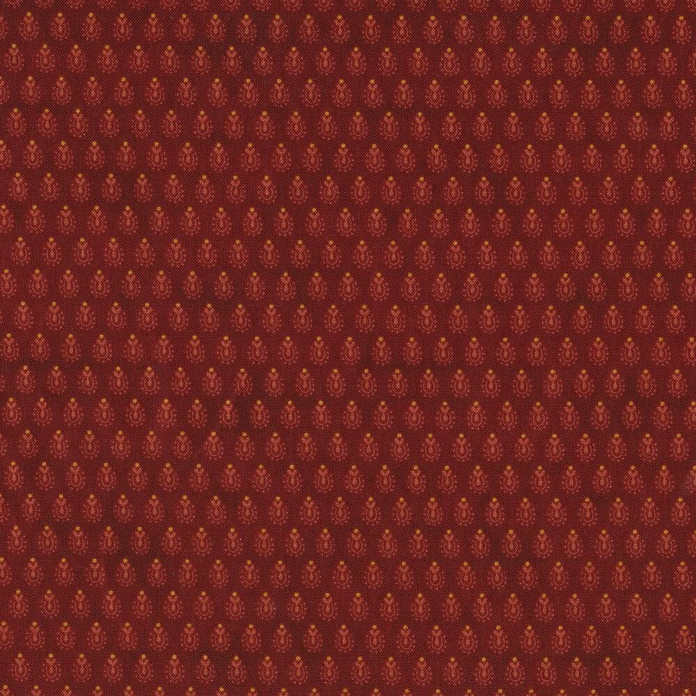 Tonal horseshoe floral buds on a red mottled background | Shabby Fabrics