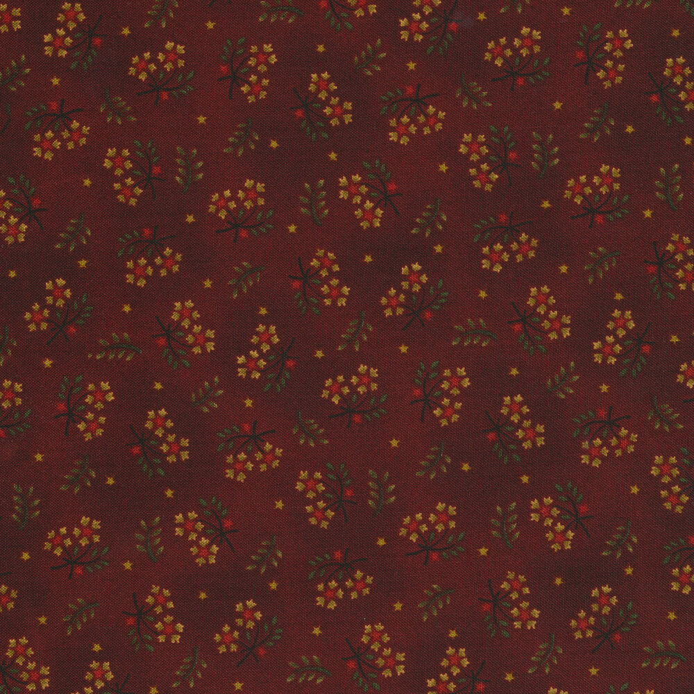 Tossed flowers with small stars and sprigs on a rust colored mottled background | Shabby Fabrics