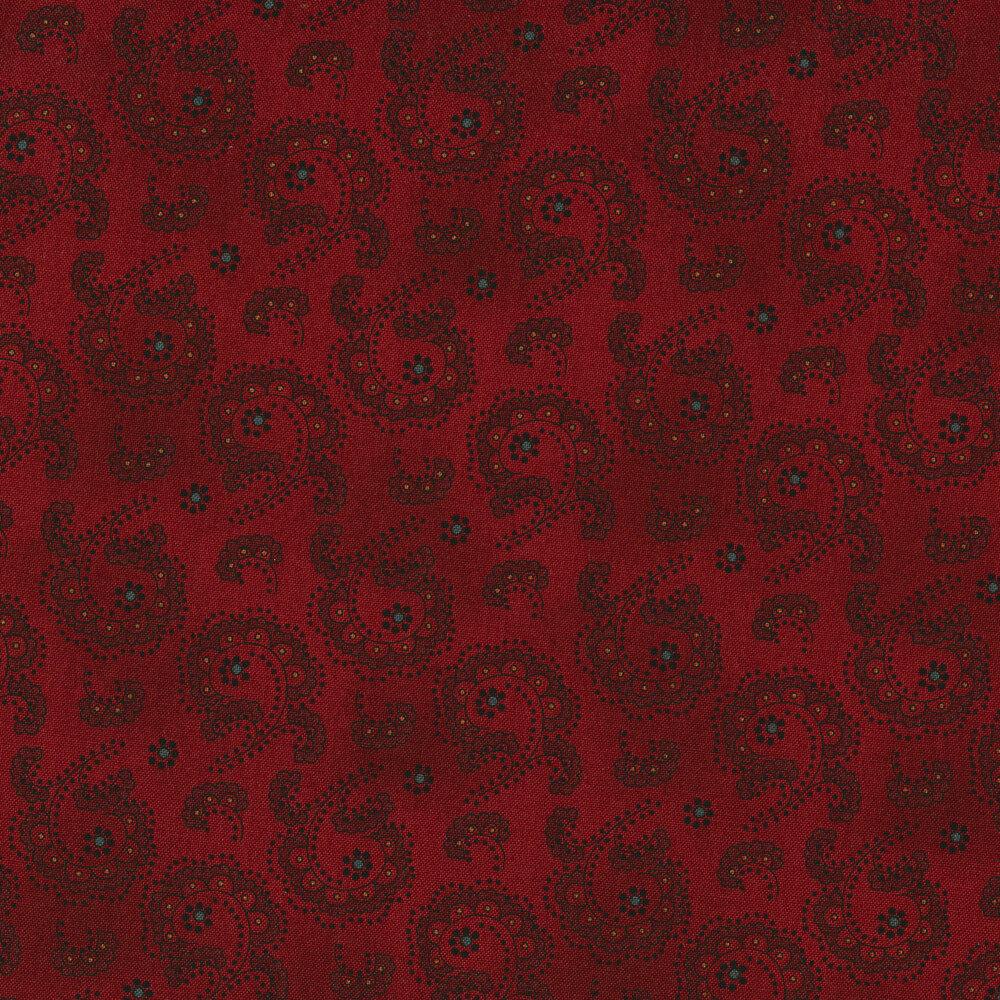 Tonal scalloped swirls on a red mottled background | Shabby Fabrics
