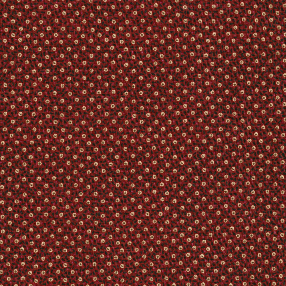 Small little an dots with leaves on a red background | Shabby Fabrics