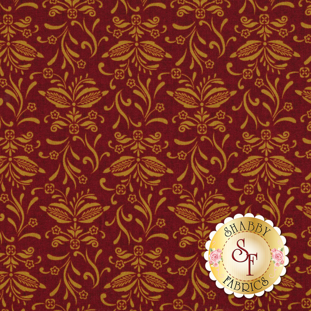 Tan wheat and flowers on a red background | Shabby Fabrics