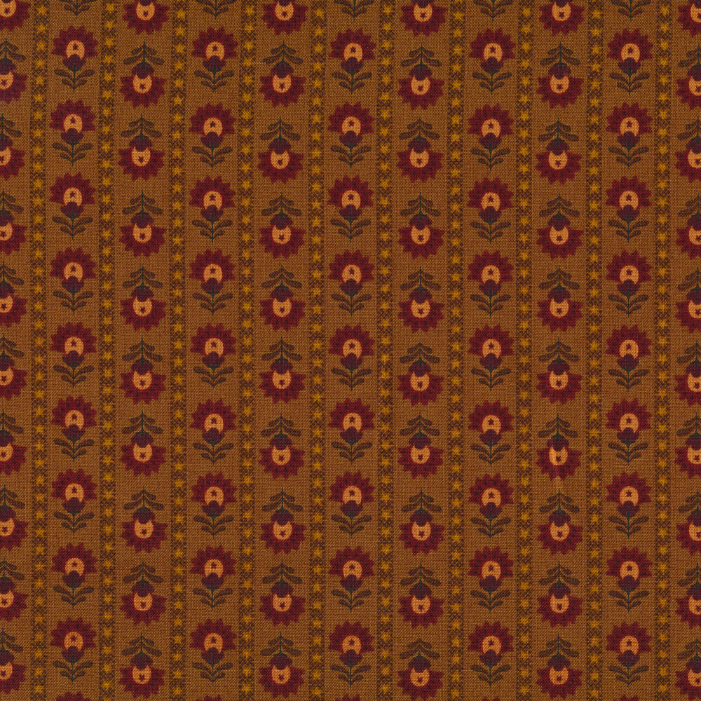 Floral stripes with small stars on a brown background   Shabby Fabrics