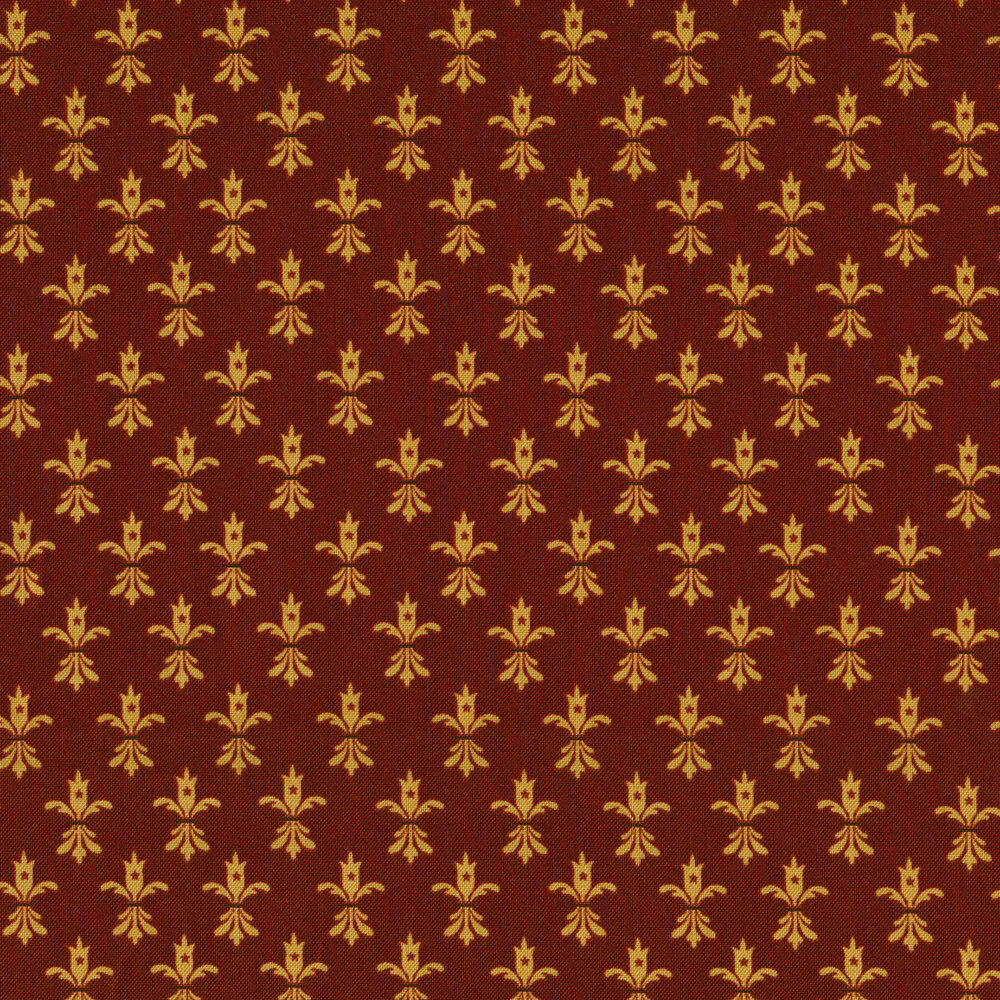 Tan foulards all over a red background | Shabby Fabrics