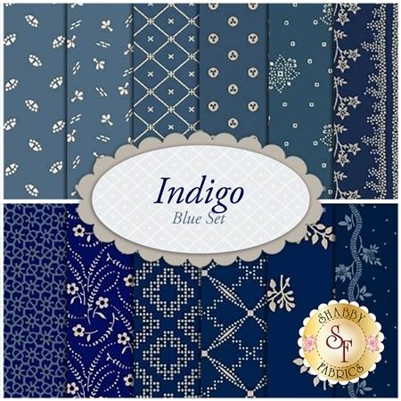 Indigo  12 FQ Set - Blue Set by Paula Barnes for Marcus Fabrics