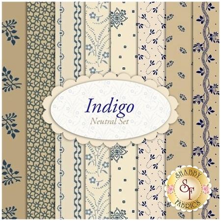 Indigo  8 FQ Set - Neutral Set by Paula Barnes for Marcus Fabrics