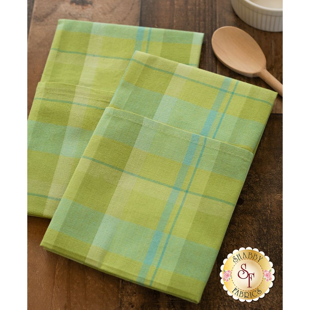 Green and blue plaid towels displayed on table | Shabby Fabrics