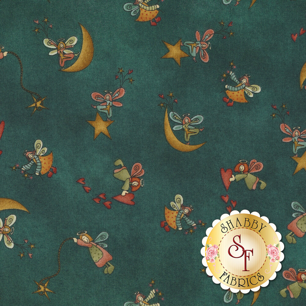 Dancing tossed angels with hearts and moons on a mottled background   Shabby Fabrics